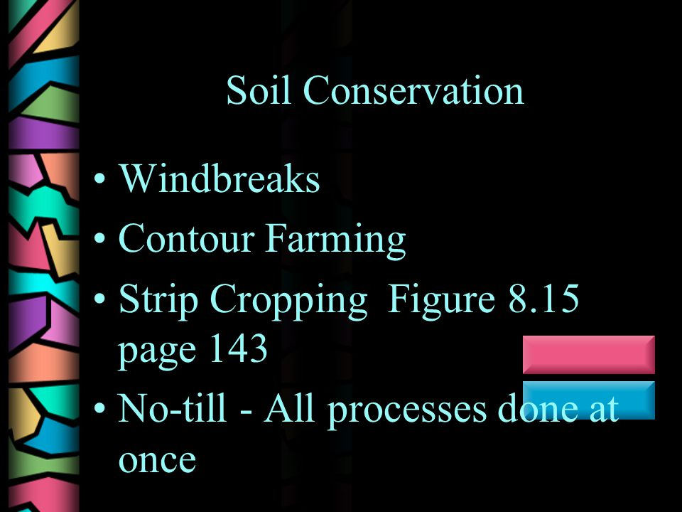 Soil Conservation Windbreaks Contour Farming Strip Cropping Figure 8.15 page 143 No-till - All processes done at once