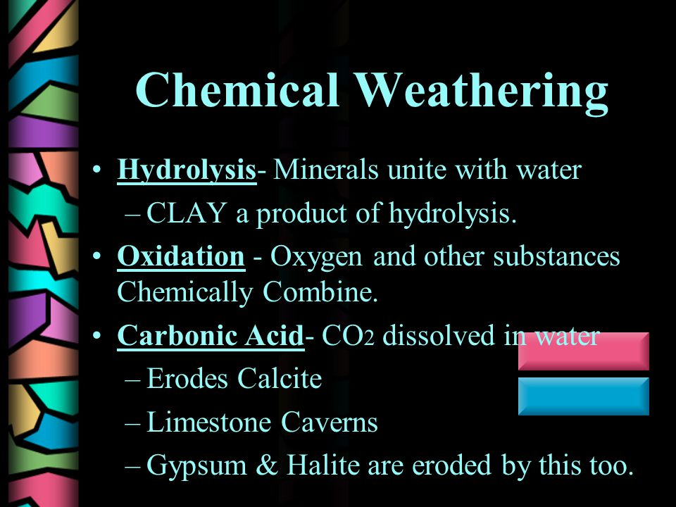 Chemical Weathering Hydrolysis- Minerals unite with water –CLAY a product of hydrolysis.