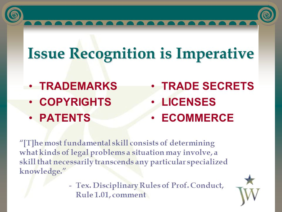"""Issue Recognition is Imperative TRADEMARKS COPYRIGHTS PATENTS TRADE SECRETS LICENSES ECOMMERCE """"[T]he most fundamental skill consists of determining w"""