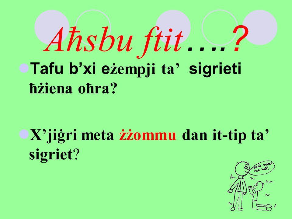 Aħsbu ftit….? Tafu b'xi eżempji ta' sigrieti ħżiena oħra? X'jiġri meta żżommu dan it-tip ta' sigriet?