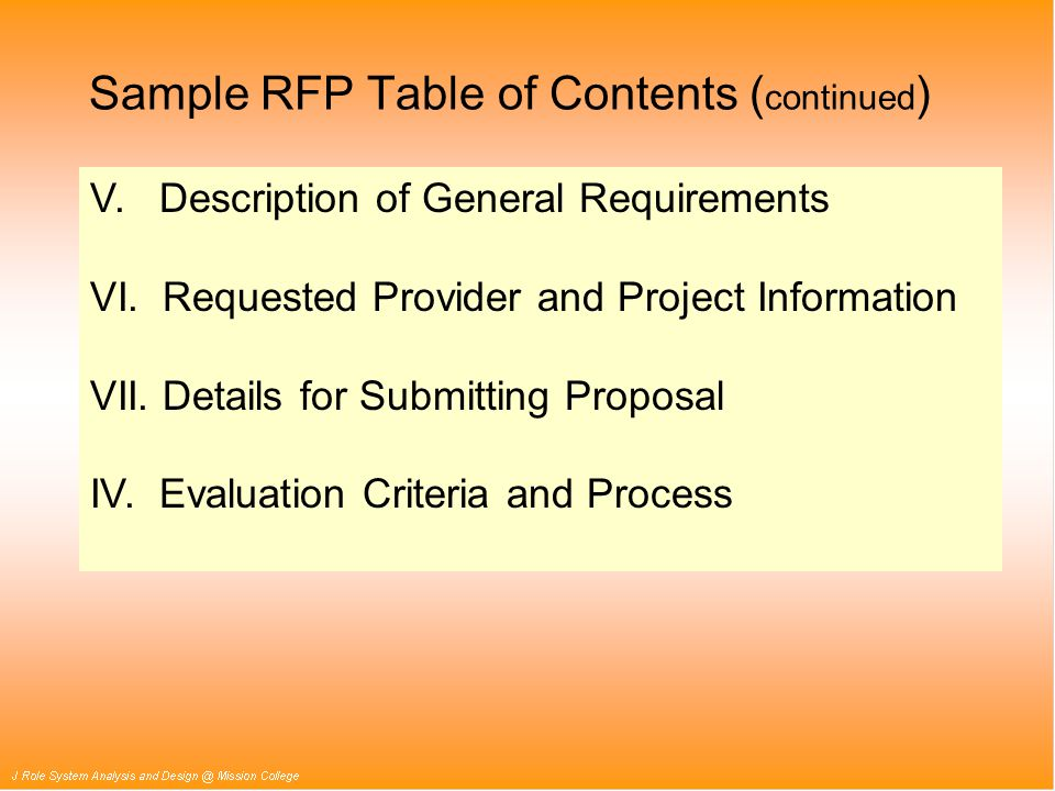 V. Description of General Requirements VI. Requested Provider and Project Information VII.