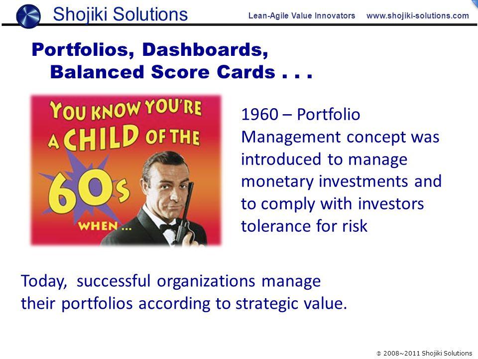 Lean-Agile Value Innovators www.shojiki-solutions.com  2008~2011 Shojiki Solutions 1960 – Portfolio Management concept was introduced to manage monet