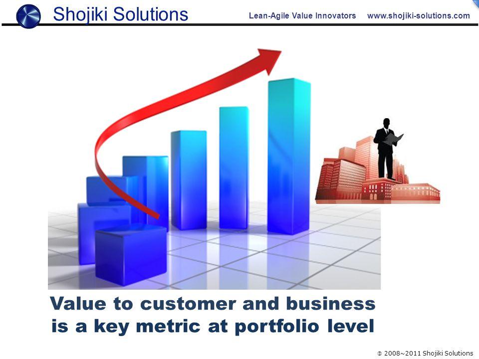 Lean-Agile Value Innovators www.shojiki-solutions.com  2008~2011 Shojiki Solutions ???? Value to customer and business is a key metric at portfolio l