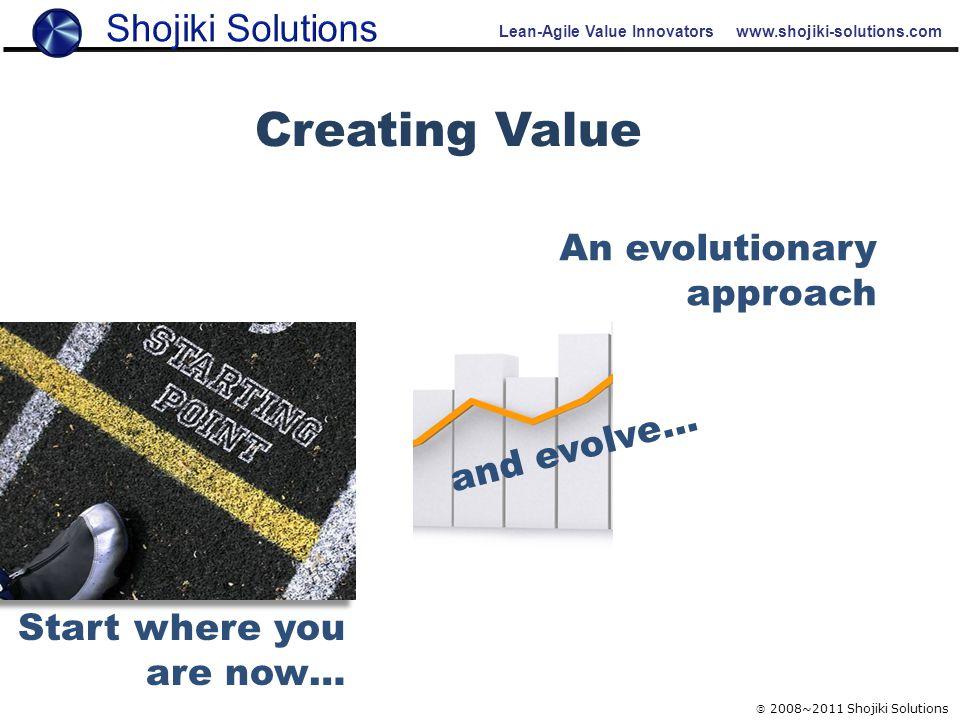 Lean-Agile Value Innovators www.shojiki-solutions.com  2008~2011 Shojiki Solutions and evolve… Start where you are now… An evolutionary approach Crea