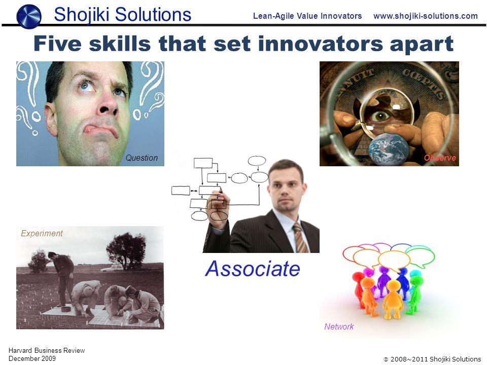 Lean-Agile Value Innovators www.shojiki-solutions.com  2008~2011 Shojiki Solutions Five skills that set innovators apart Harvard Business Review December 2009 Question Observe Experiment Network Associate