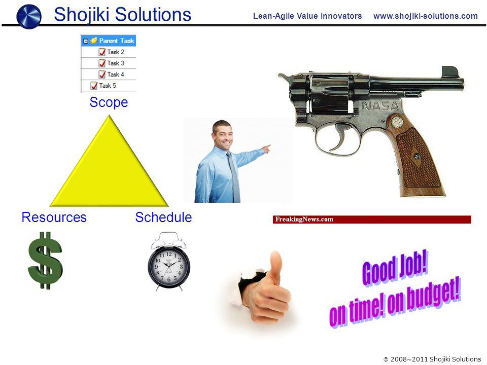 Lean-Agile Value Innovators www.shojiki-solutions.com  2008~2011 Shojiki Solutions ResourcesSchedule Scope