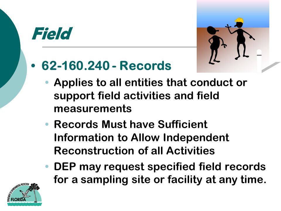 Field 62-160.240 - Records Applies to all entities that conduct or support field activities and field measurements Records Must have Sufficient Inform