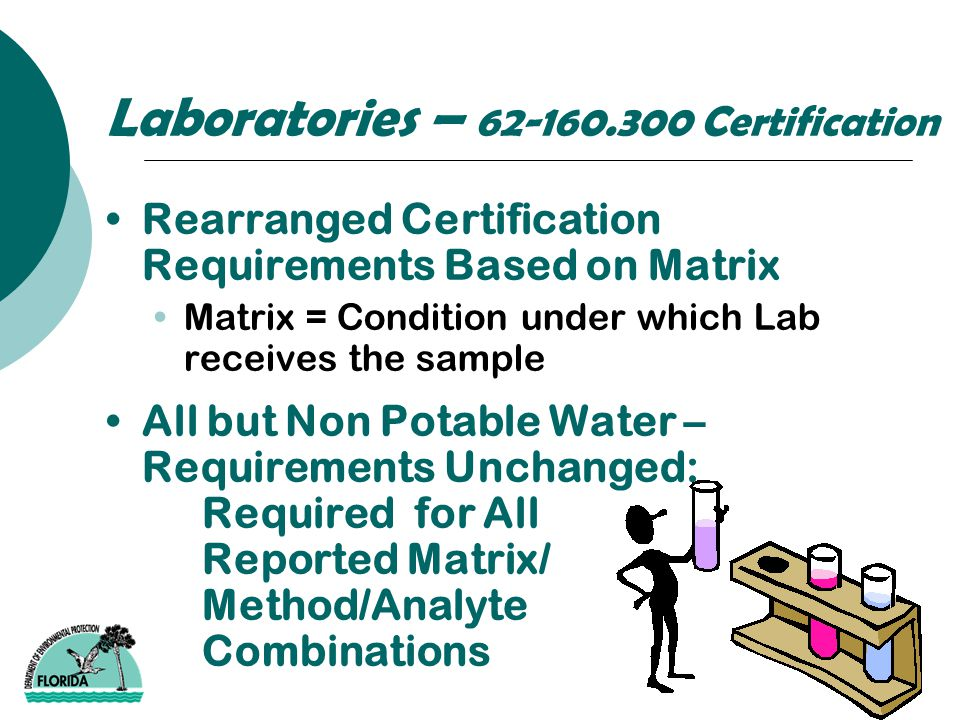 Laboratories – 62-160.300 Certification Rearranged Certification Requirements Based on Matrix Matrix = Condition under which Lab receives the sample A