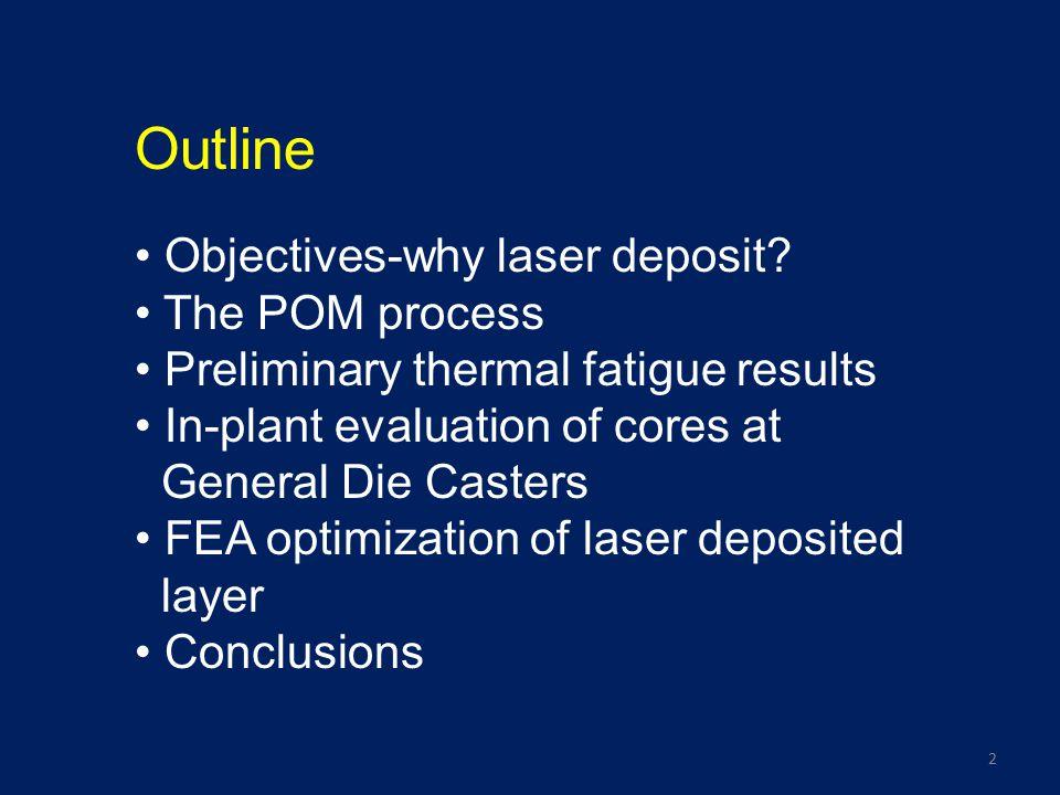 3 Objectives – why laser deposit.
