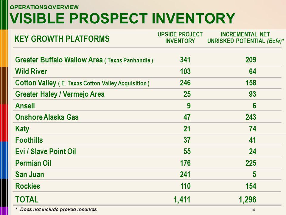 15 VISIBLE PROSPECT INVENTORY Greater Buffalo Wallow Area ( Texas Panhandle ) Wild River Cotton Valley ( E. Texas Cotton Valley Acquisition ) Greater
