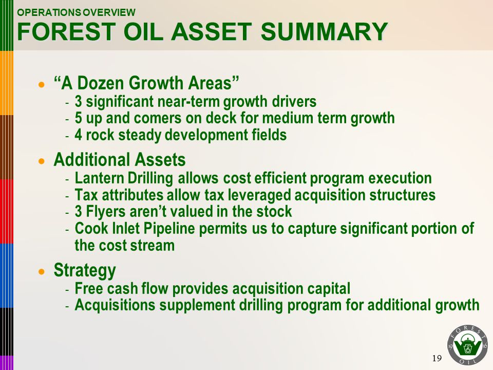 19 FOREST OIL ASSET SUMMARY  A Dozen Growth Areas - 3 significant near-term growth drivers - 5 up and comers on deck for medium term growth - 4 rock steady development fields  Additional Assets - Lantern Drilling allows cost efficient program execution - Tax attributes allow tax leveraged acquisition structures - 3 Flyers aren't valued in the stock - Cook Inlet Pipeline permits us to capture significant portion of the cost stream  Strategy - Free cash flow provides acquisition capital - Acquisitions supplement drilling program for additional growth OPERATIONS OVERVIEW