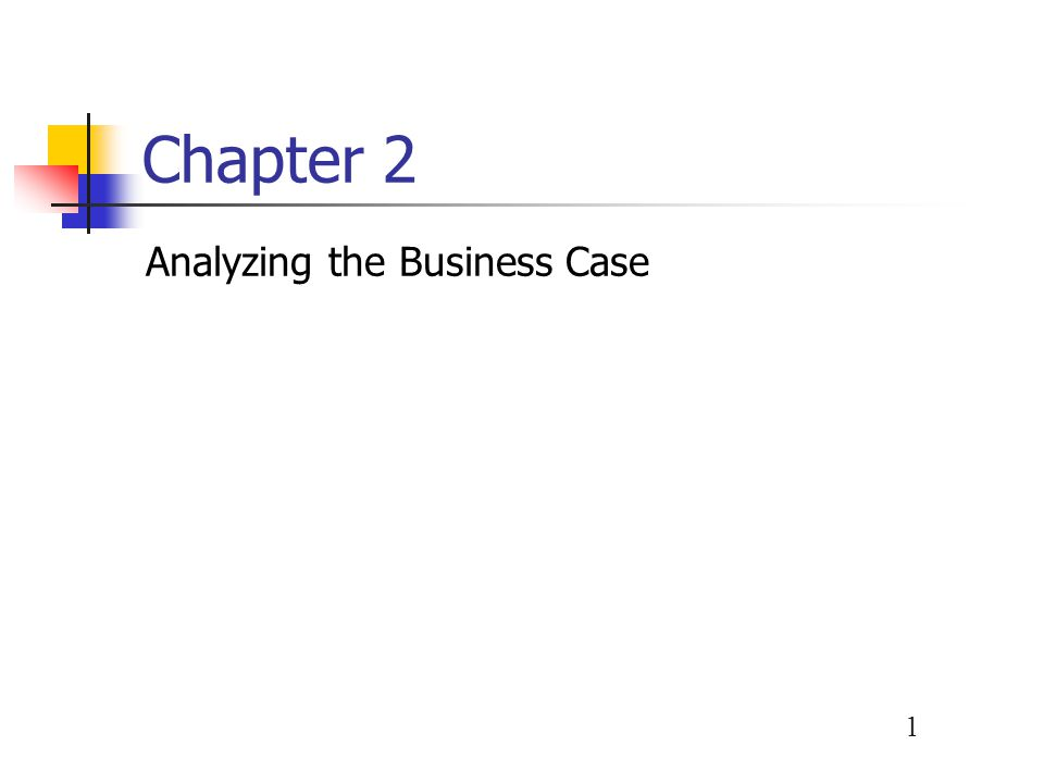 1 Chapter 2 Analyzing the Business Case