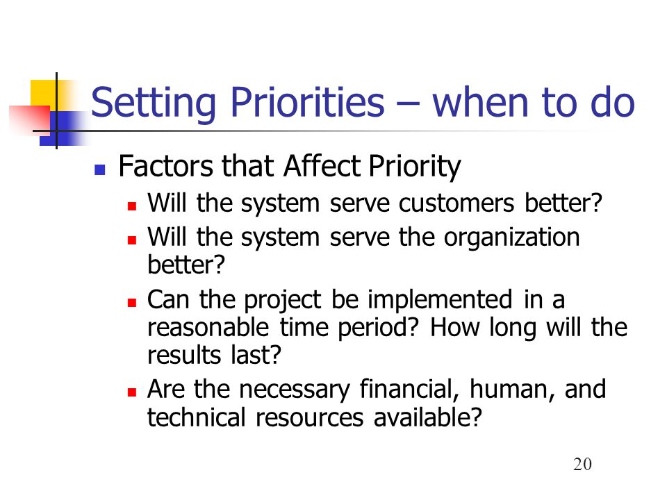 20 Setting Priorities – when to do Factors that Affect Priority Will the system serve customers better? Will the system serve the organization better?