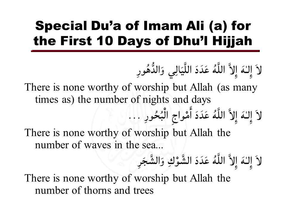 Special Du'a of Imam Ali (a) for the First 10 Days of Dhu'l Hijjah لاَ إِلـٰهَ إِلاَّ اللَّهُ عَدَدَ اللَّيَالِي وَالدُّهُورِ There is none worthy of worship but Allah (as many times as) the number of nights and days لاَ إِلـٰهَ إِلاَّ اللَّهُ عَدَدَ أَمْواجِ الْبُحُورِ...