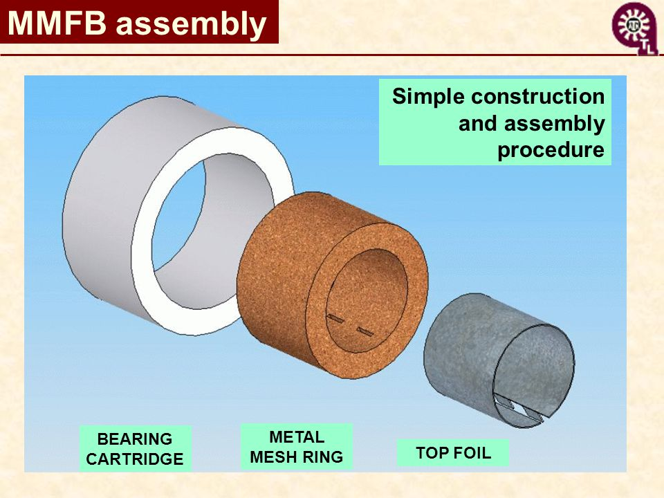 MMFB assembly BEARING CARTRIDGE METAL MESH RING TOP FOIL Simple construction and assembly procedure