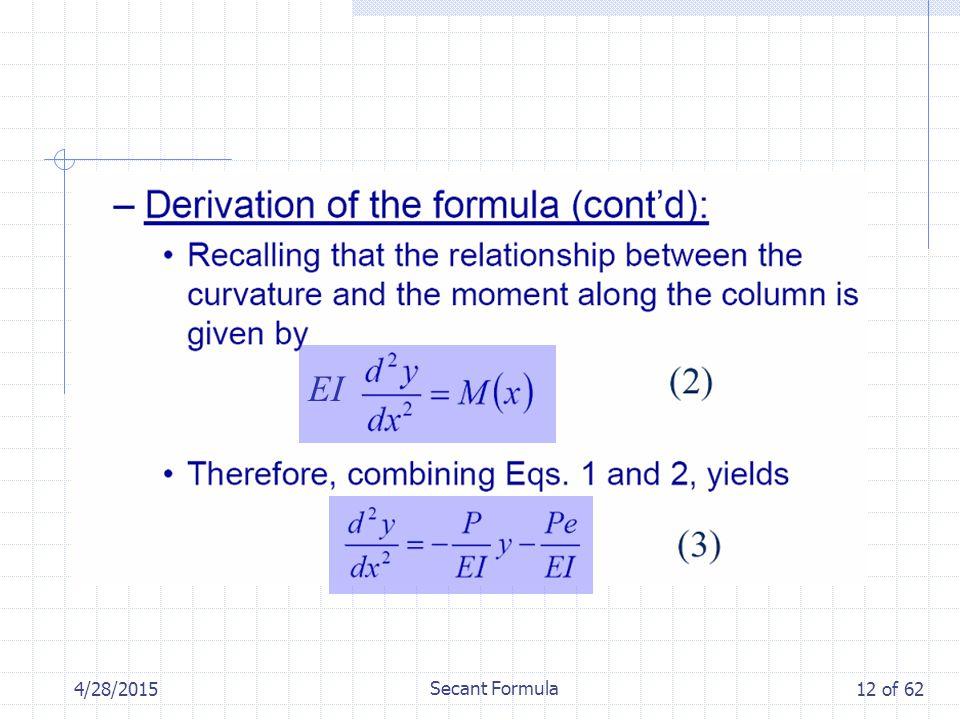 4/28/2015 Secant Formula 12 of 62 EI