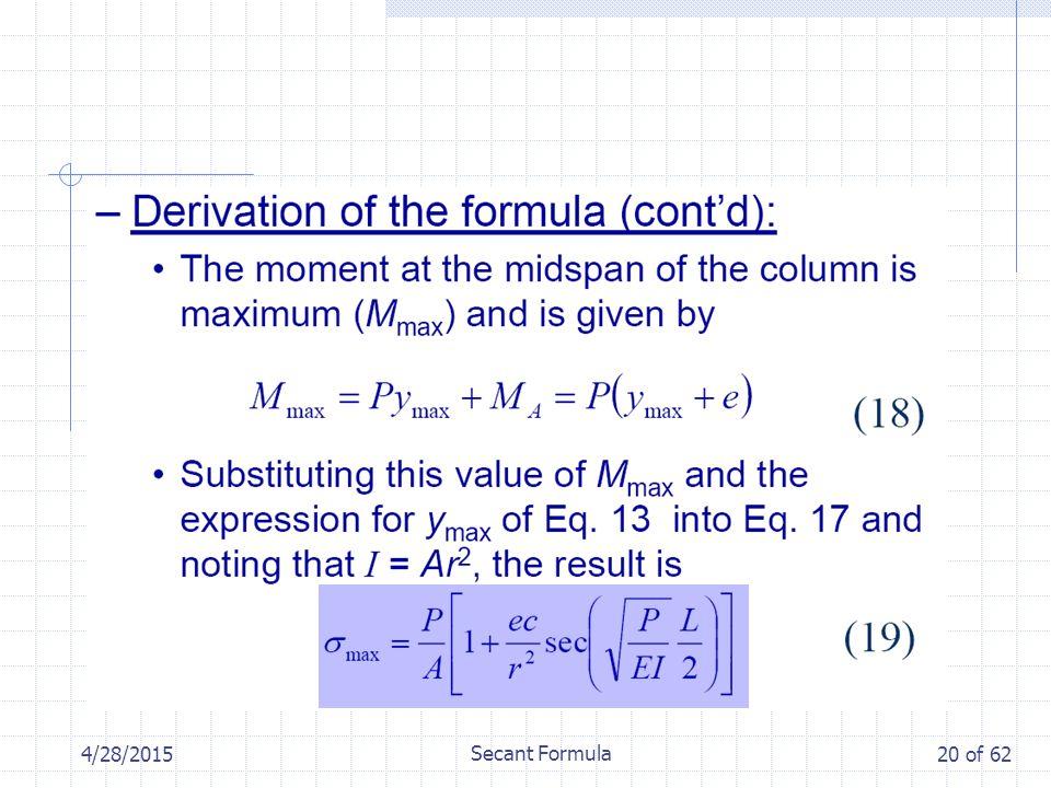 4/28/2015 Secant Formula 20 of 62