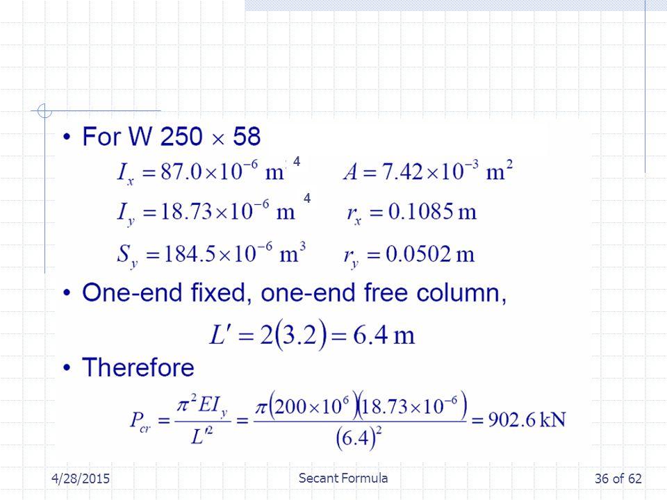 4/28/2015 Secant Formula 36 of 62 4 4