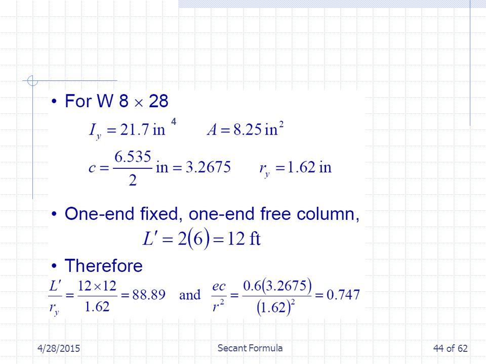 4/28/2015 Secant Formula 44 of 62 4
