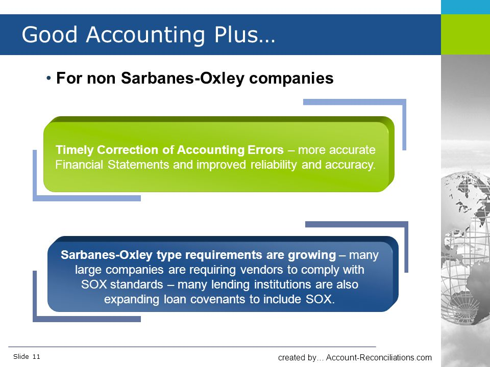 created by… Account-Reconciliations.com Slide 11 Good Accounting Plus… For non Sarbanes-Oxley companies Timely Correction of Accounting Errors – more accurate Financial Statements and improved reliability and accuracy.
