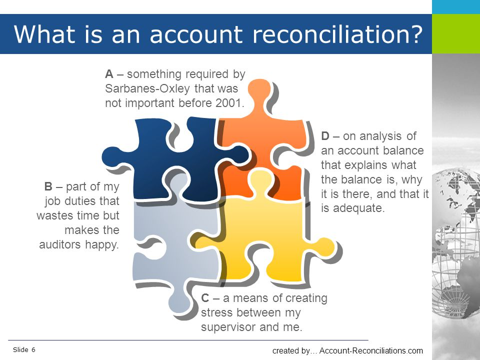 created by… Account-Reconciliations.com Slide 6 What is an account reconciliation.