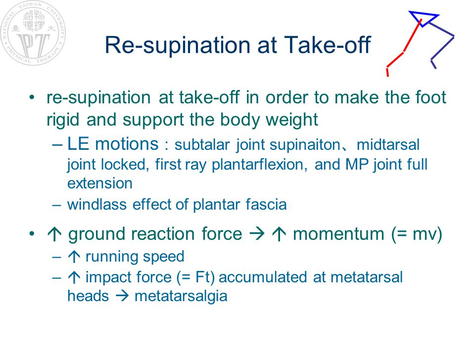 Re-supination at Take-off re-supination at take-off in order to make the foot rigid and support the body weight –LE motions : subtalar joint supinaito