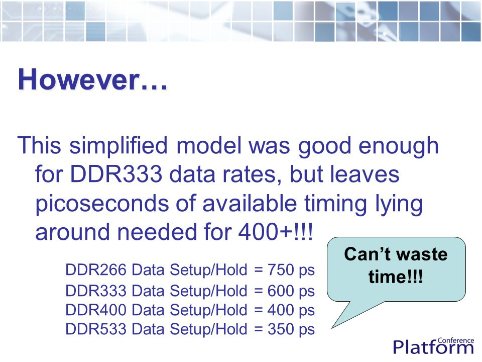 However… This simplified model was good enough for DDR333 data rates, but leaves picoseconds of available timing lying around needed for 400+!!.