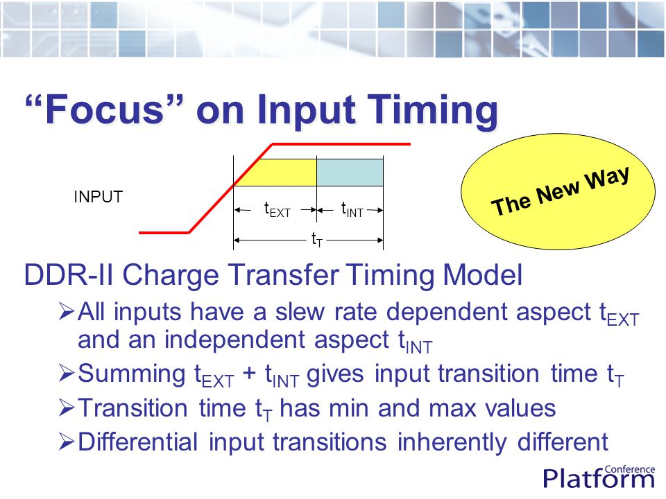 Focus on Input Timing INPUT DDR-II Charge Transfer Timing Model  All inputs have a slew rate dependent aspect t EXT and an independent aspect t INT  Summing t EXT + t INT gives input transition time t T  Transition time t T has min and max values  Differential input transitions inherently different t INT t EXT tTtT The New Way