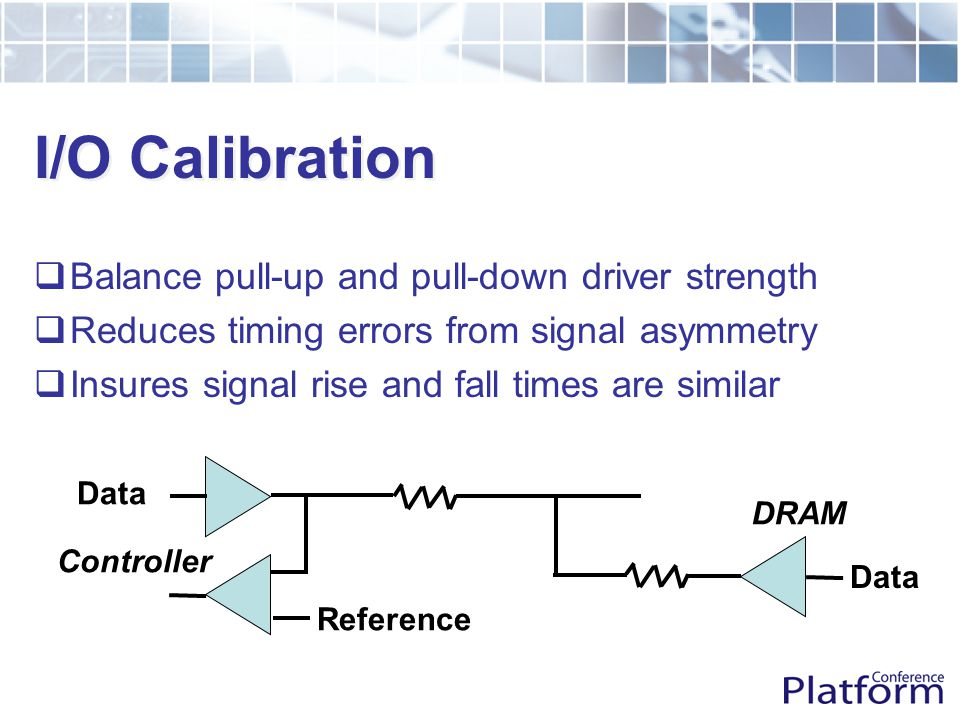  Balance pull-up and pull-down driver strength  Reduces timing errors from signal asymmetry  Insures signal rise and fall times are similar Reference Data Controller DRAM