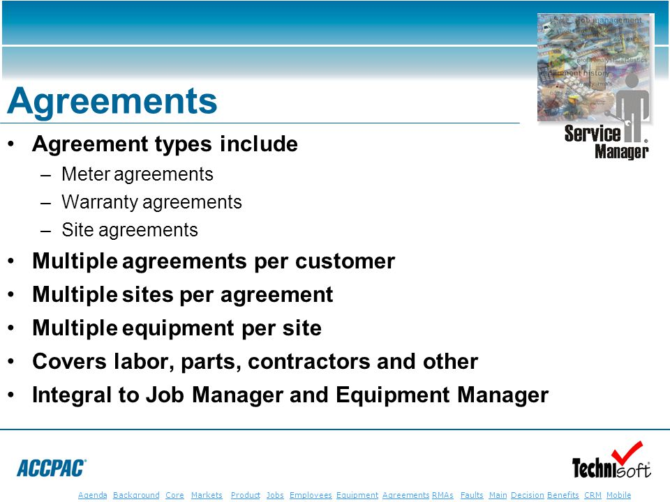 JobsEmployeesEquipmentAgreementsRMAsFaultsMainAgendaBackgroundCoreMarketsProductDecisionBenefitsBenefits CRM MobileCRMMobile Agreements Agreement type