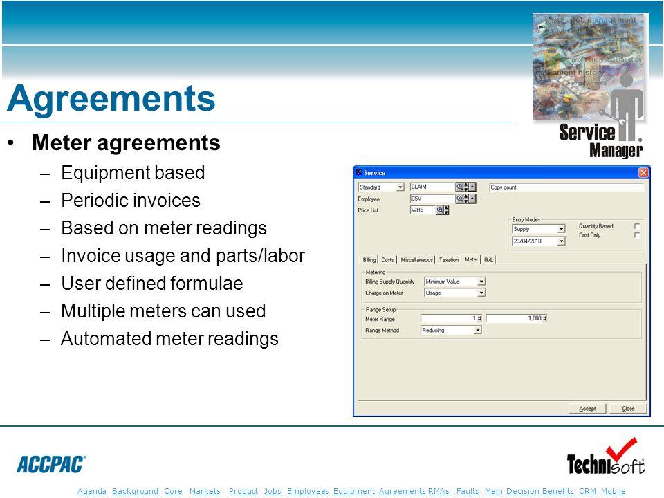 JobsEmployeesEquipmentAgreementsRMAsFaultsMainAgendaBackgroundCoreMarketsProductDecisionBenefitsBenefits CRM MobileCRMMobile Agreements Meter agreemen