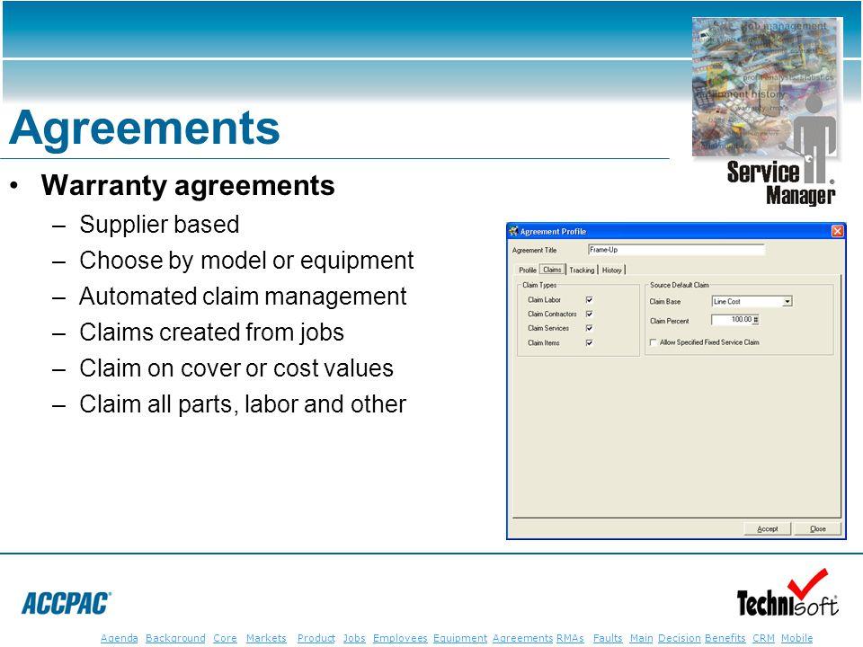 JobsEmployeesEquipmentAgreementsRMAsFaultsMainAgendaBackgroundCoreMarketsProductDecisionBenefitsBenefits CRM MobileCRMMobile Agreements Warranty agree