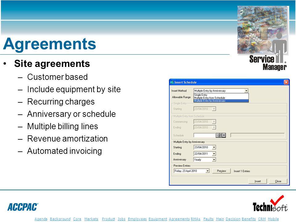 JobsEmployeesEquipmentAgreementsRMAsFaultsMainAgendaBackgroundCoreMarketsProductDecisionBenefitsBenefits CRM MobileCRMMobile Agreements Site agreement