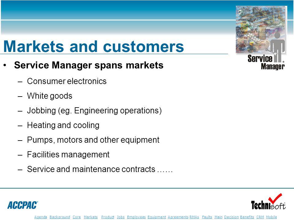 JobsEmployeesEquipmentAgreementsRMAsFaultsMainAgendaBackgroundCoreMarketsProductDecisionBenefitsBenefits CRM MobileCRMMobile Markets and customers Ser