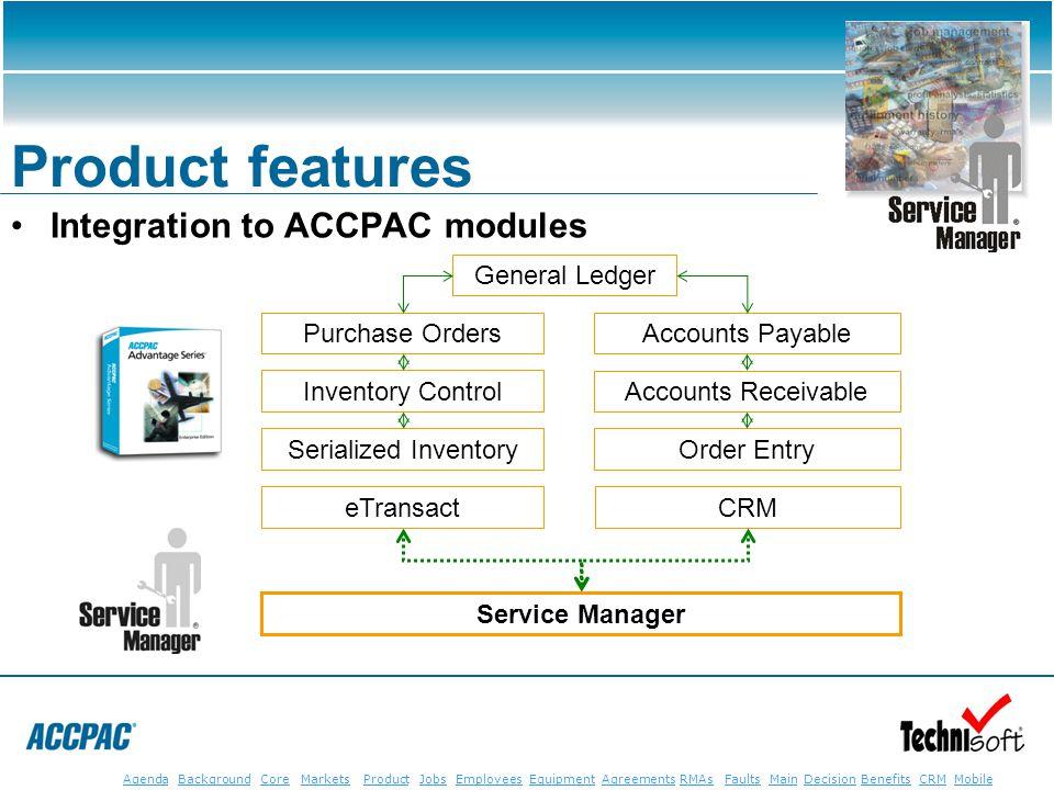 JobsEmployeesEquipmentAgreementsRMAsFaultsMainAgendaBackgroundCoreMarketsProductDecisionBenefitsBenefits CRM MobileCRMMobile Product features Integrat