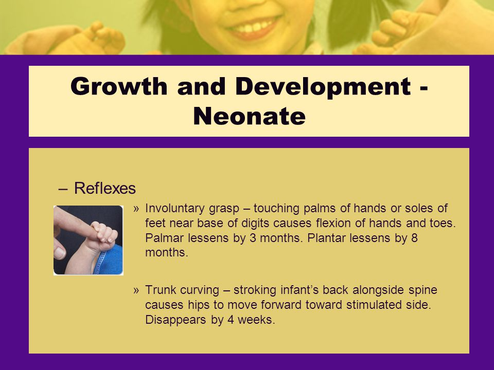 Growth and Development - Neonate –Reflexes »Involuntary grasp – touching palms of hands or soles of feet near base of digits causes flexion of hands and toes.