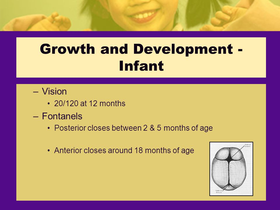 Growth and Development - Infant –Vision 20/120 at 12 months –Fontanels Posterior closes between 2 & 5 months of age Anterior closes around 18 months of age