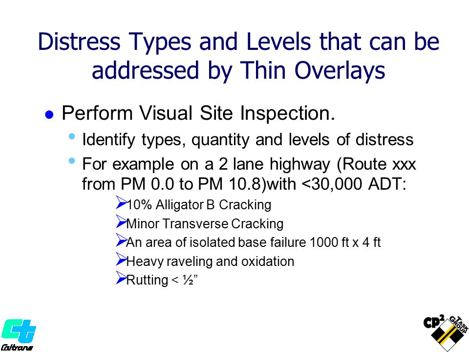 Distress Types and Levels that can be addressed by Thin Overlays Perform Visual Site Inspection. Identify types, quantity and levels of distress For e