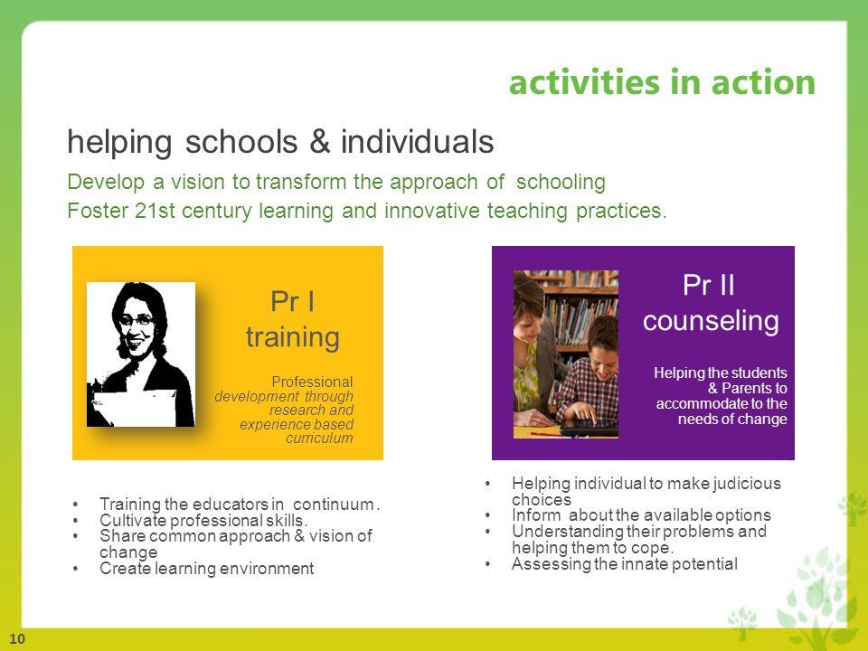 10 activities in action Pr I training Training the educators in continuum.