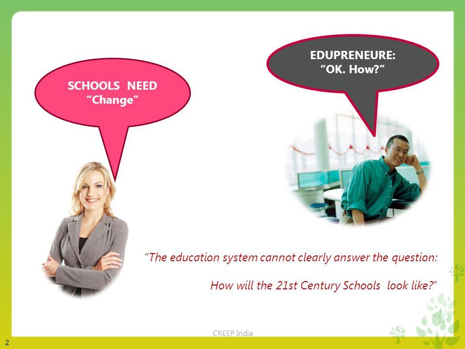 2 SCHOOLS NEED Change EDUPRENEURE: OK.