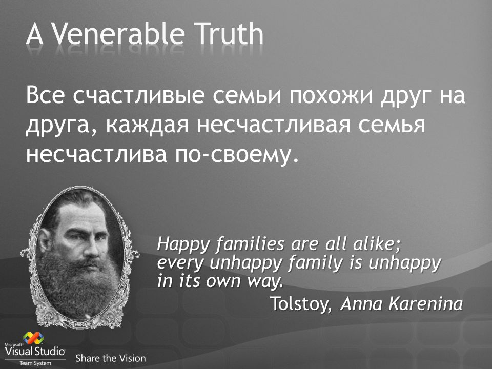 Happy families are all alike; every unhappy family is unhappy in its own way. Tolstoy, Anna Karenina Все счастливые семьи похожи друг на друга, каждая