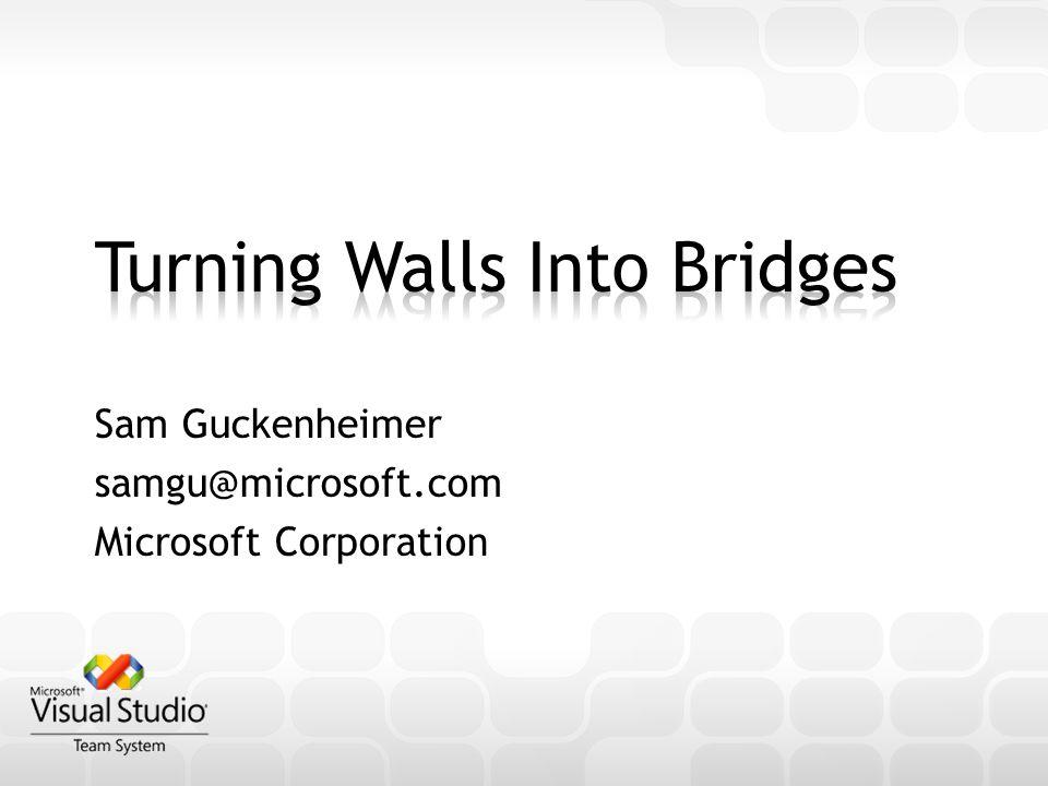 Sam Guckenheimer samgu@microsoft.com Microsoft Corporation