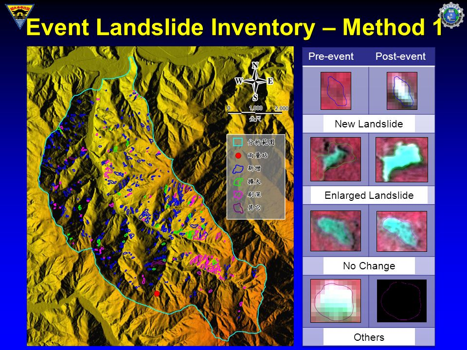 Event Landslide Inventory – Method 1 Pre-eventPost-event New Landslide Enlarged Landslide No Change Others