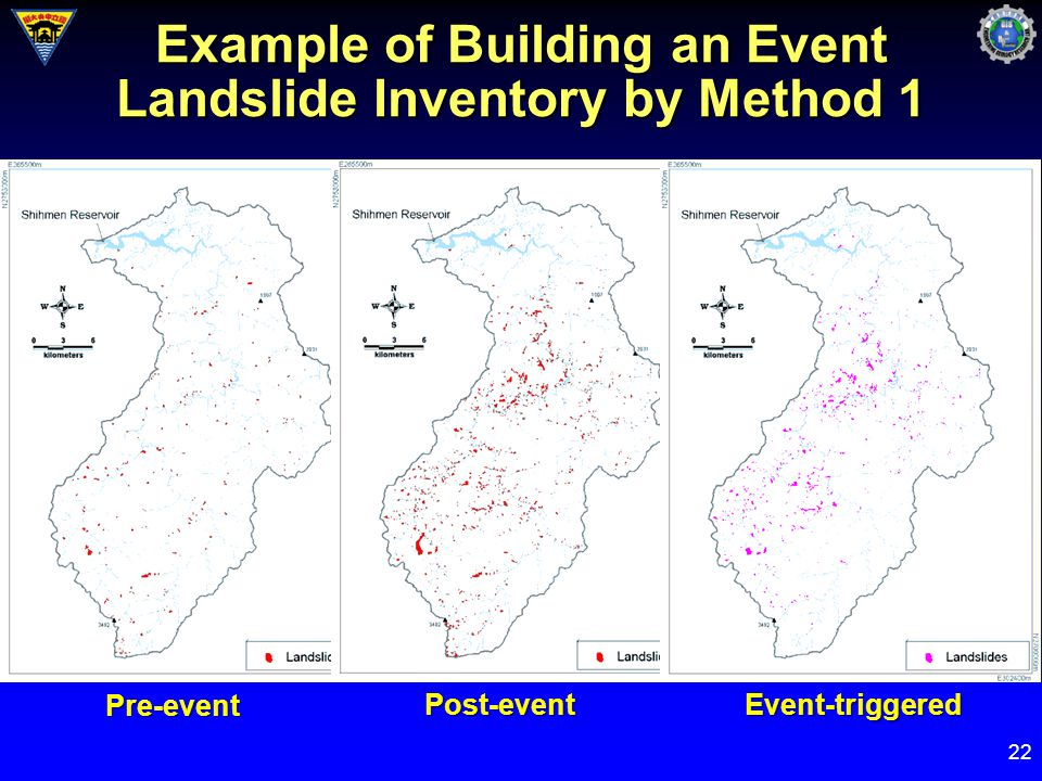 22 Example of Building an Event Landslide Inventory by Method 1 Pre-event Post-eventEvent-triggered