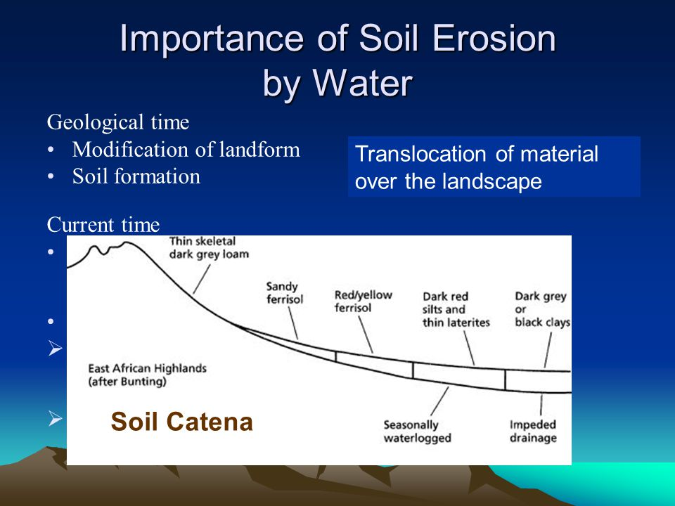 Universal Soil Loss Equation Soil Loss = f (climate, soil, topography, landuse) A = R K LS C P Originally developed in the 1960s The Revised USLE (RUSLE):1997 An update of the USLE to take account of new information gained since the 1960s and 70s The mathematical form of the model remained as above but changes were made to the way in which some of the factor values are calculated