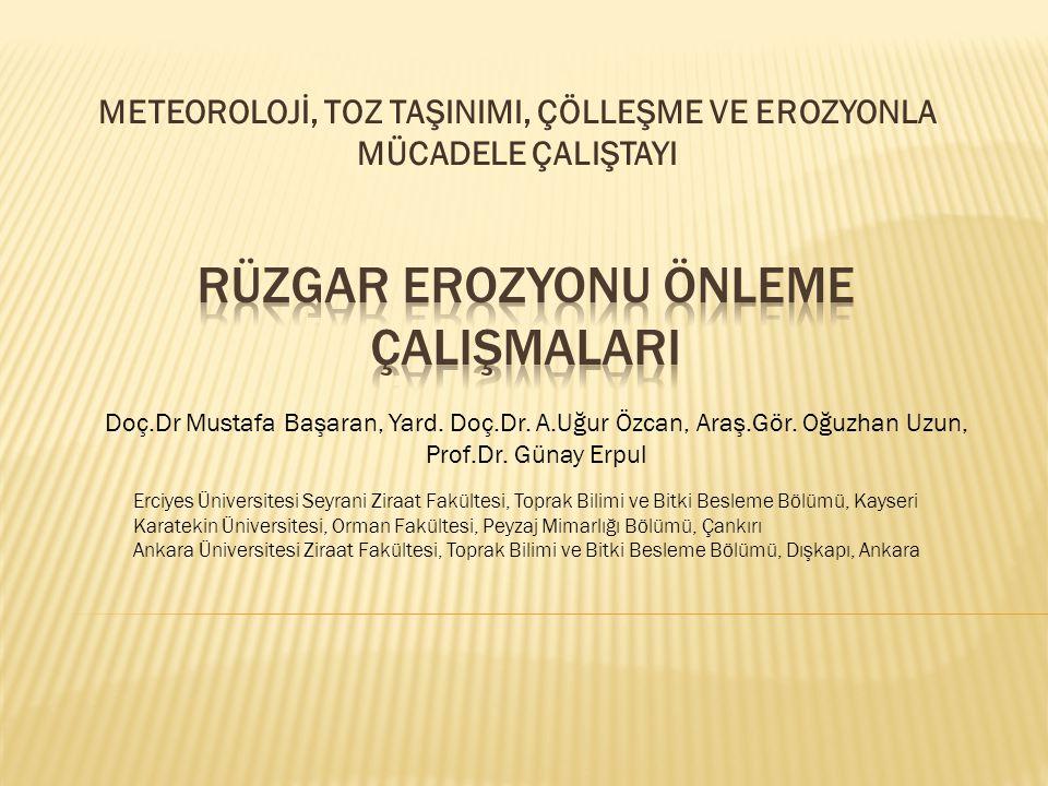 METEOROLOJİ, TOZ TAŞINIMI, ÇÖLLEŞME VE EROZYONLA MÜCADELE ÇALIŞTAYI Doç.Dr Mustafa Başaran, Yard.