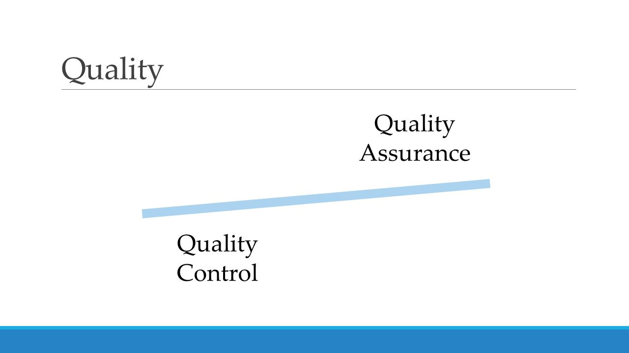 Quality Quality Assurance Quality Control