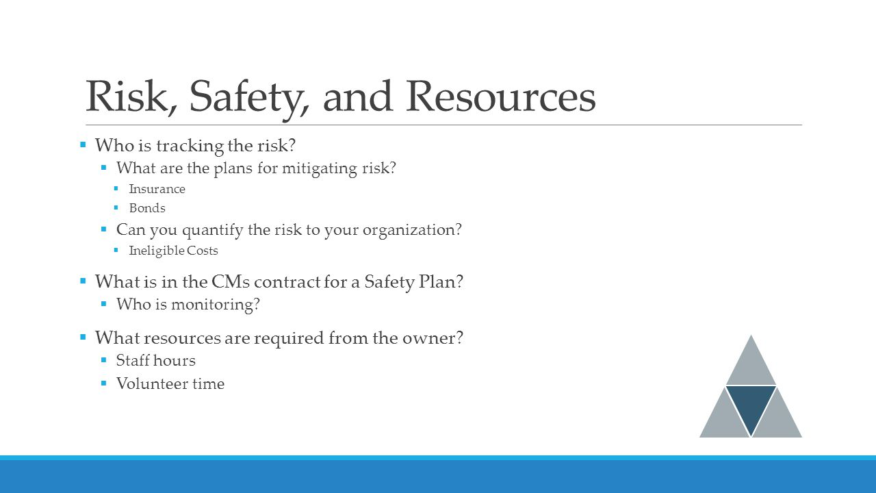 Risk, Safety, and Resources  Who is tracking the risk.