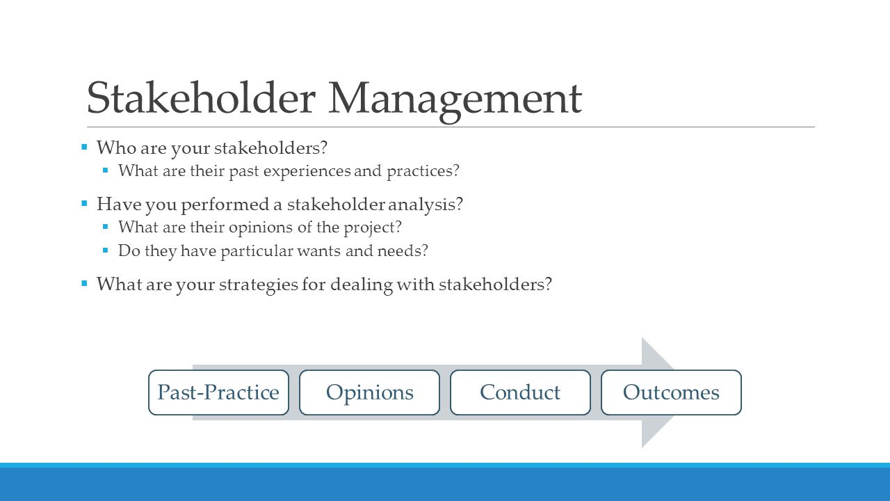 Stakeholder Management  Who are your stakeholders.