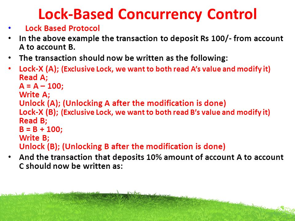Lock-Based Concurrency Control Lock Based Protocol In the above example the transaction to deposit Rs 100/- from account A to account B. The transacti